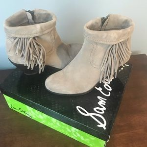 Sam Edelman Louie Suede Booties Tan/Taupe EUC 8